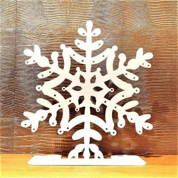 porte bijoux métal flocon blanc pm