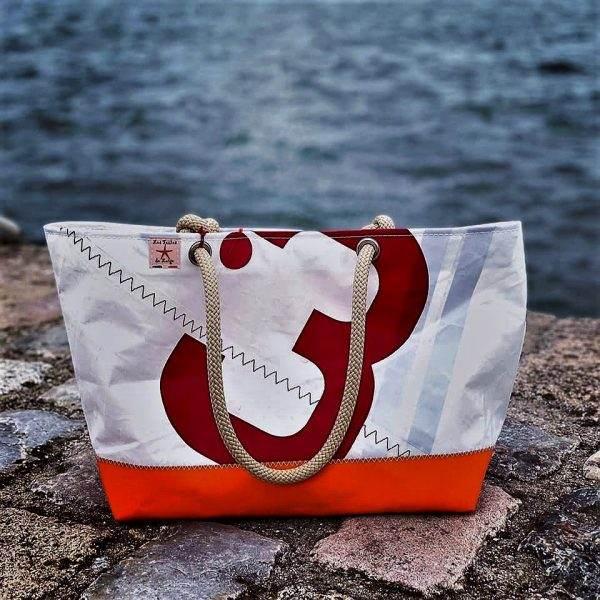 cabas voile recyclée mm n°3 rouge et orange avant