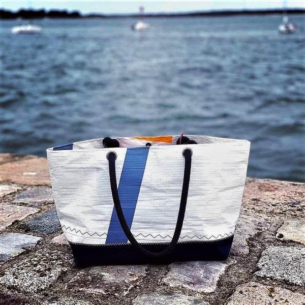 cabas voile recyclée mm n°7 orange et bleu arrière