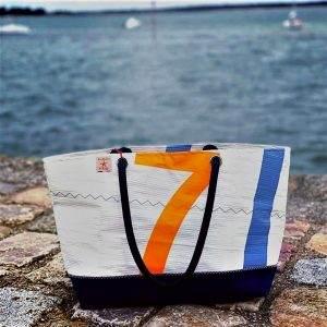 cabas voile recyclée mm n°7 orange et bleu avant