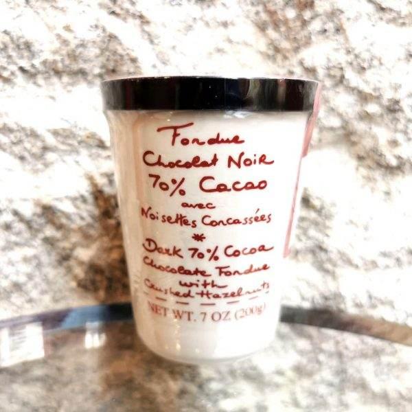 fondue chocolat noir et noisettes