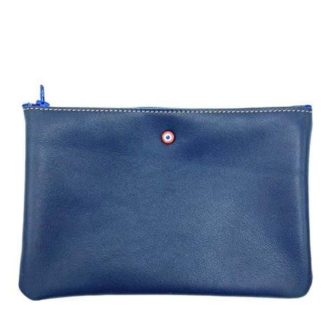 Larmorie Pochette Cuir Bleu Marine